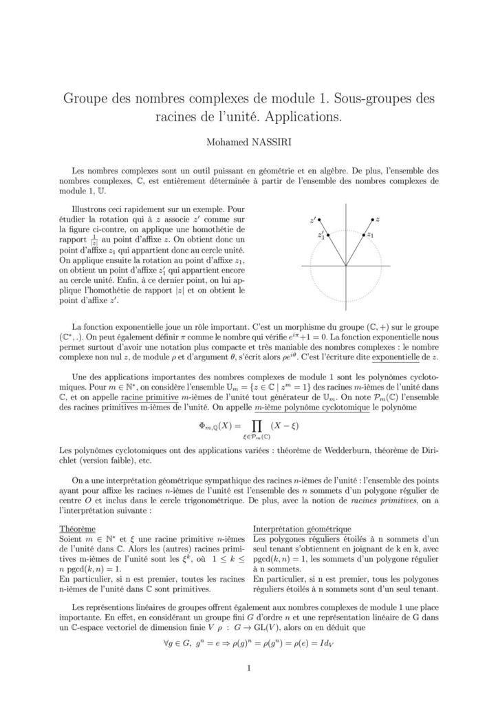 102 - Groupe des nombres complexes de module 1. Sous-groupes des racines de l'unité. Applications.