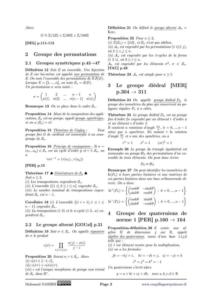 108 - Exemples de parties génératrices d'un groupe. Applications.