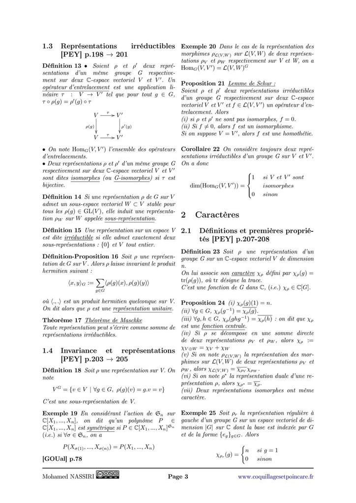 107 - Représentations et caractères d'un groupe fini sur un ℂ-espace vectoriel. Exemples.