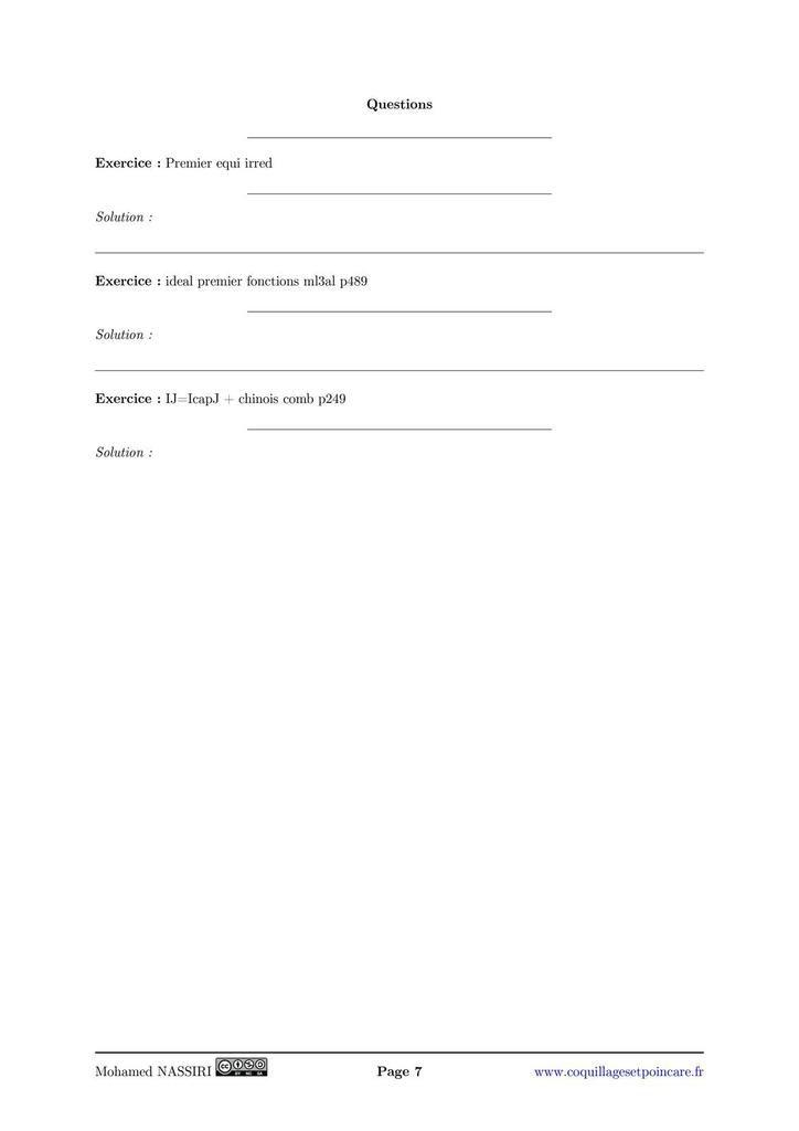 122 - Anneaux principaux. Applications.
