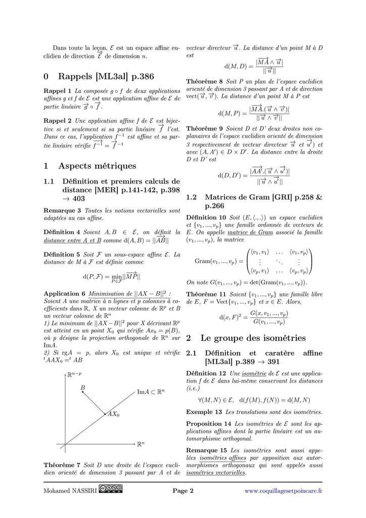 161 - Distances et isométries d'un espace affine euclidien.
