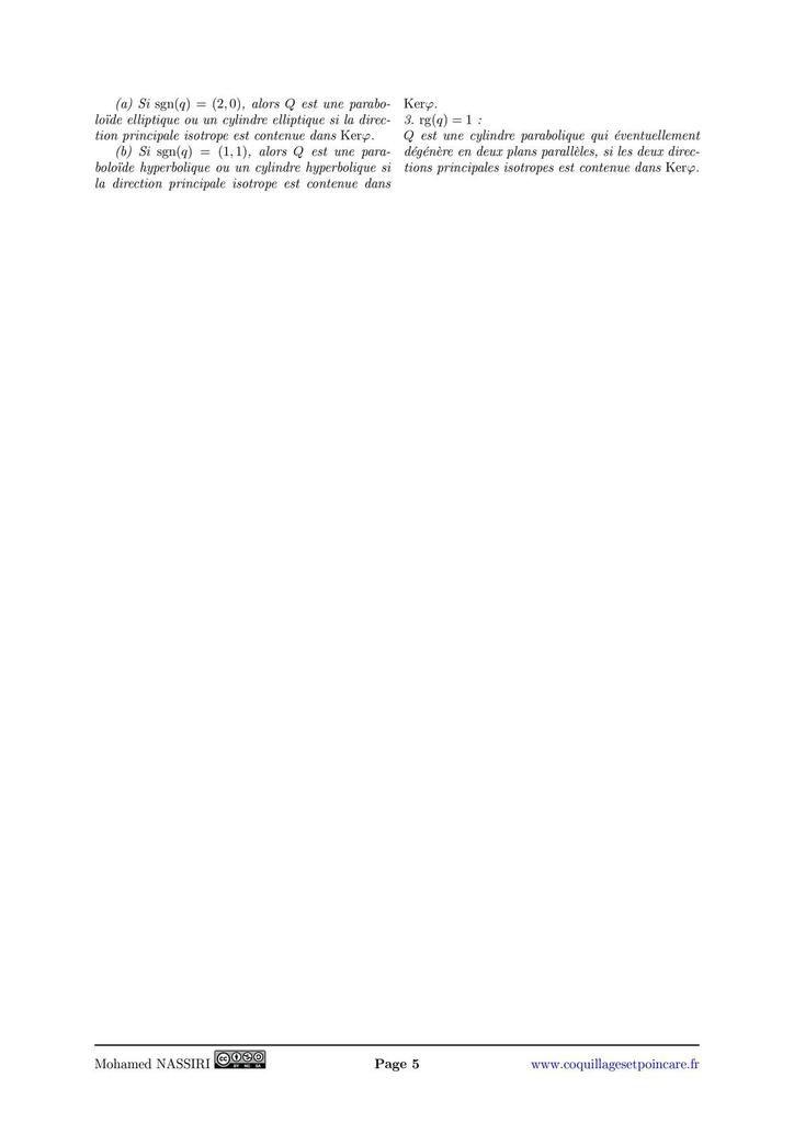 171 - Formes quadratiques réelles. Coniques. Exemples et applications.