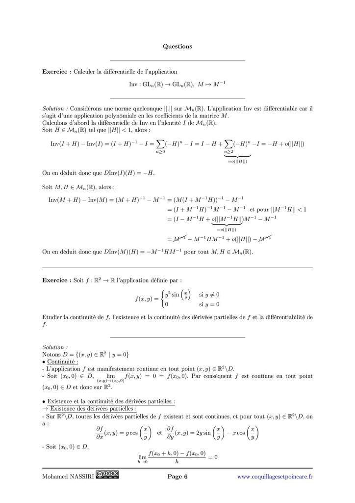 215 - Applications différentiables définies sur un ouvert de ℝn. Exemples et applications.