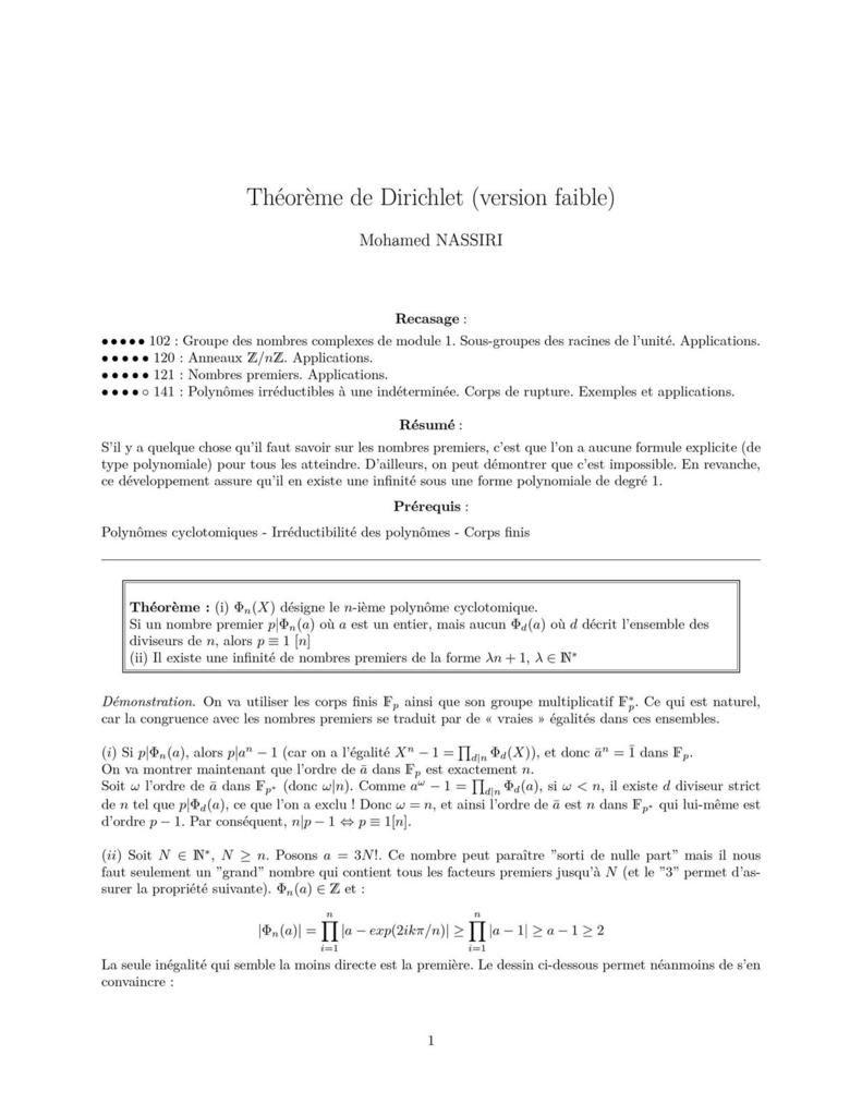 Théorème de Dirichlet faible