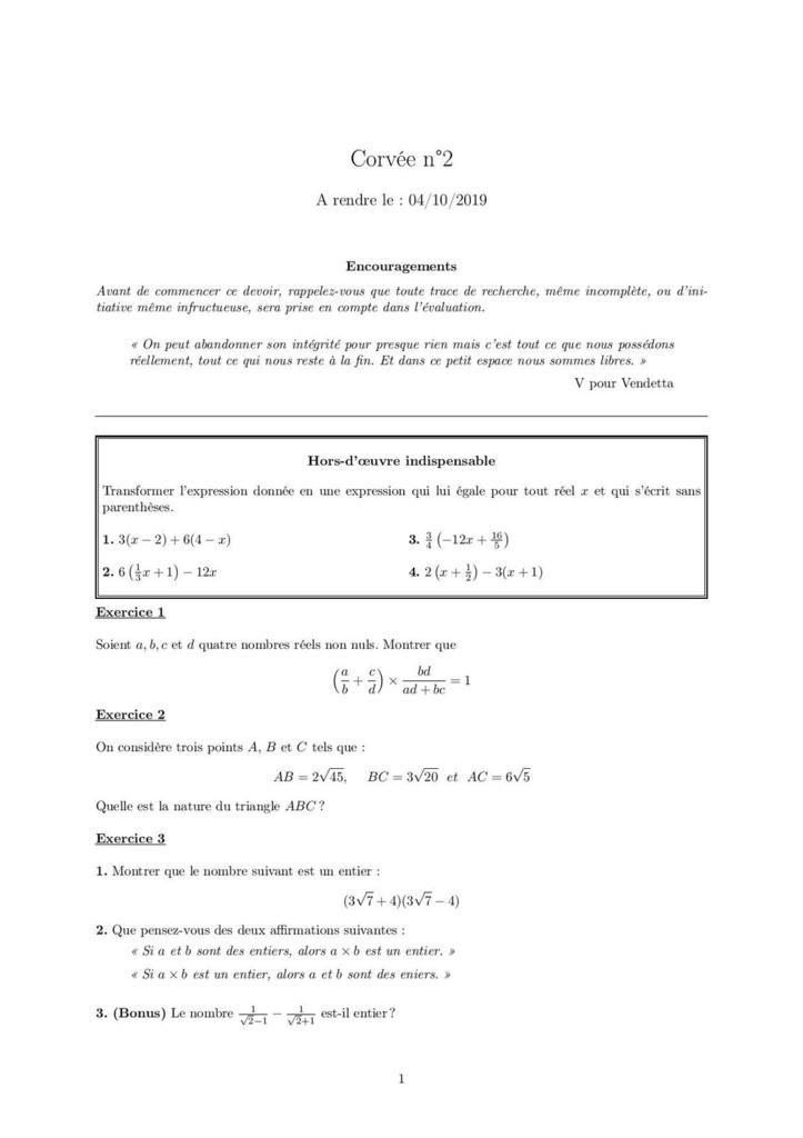 Corvée n°1 - Correction Corvée n°1