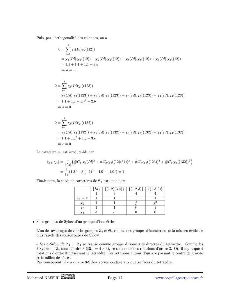 Isométries du tétraèdre et table des caractères S4