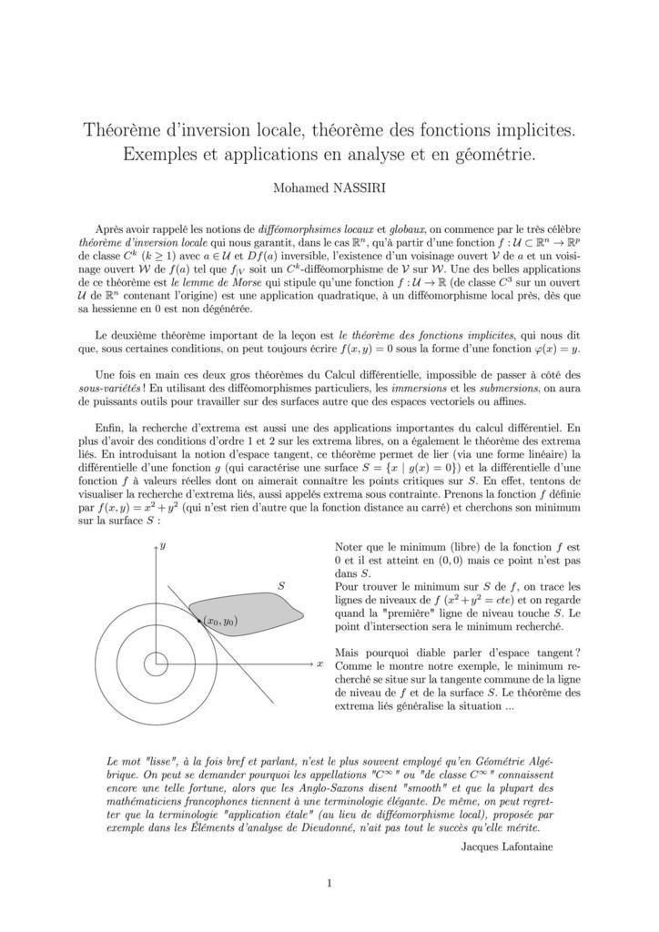 214 - Théorème d'inversion locale, théorème des fonctions implicites. Exemples et applications en analyse et en géométrie.