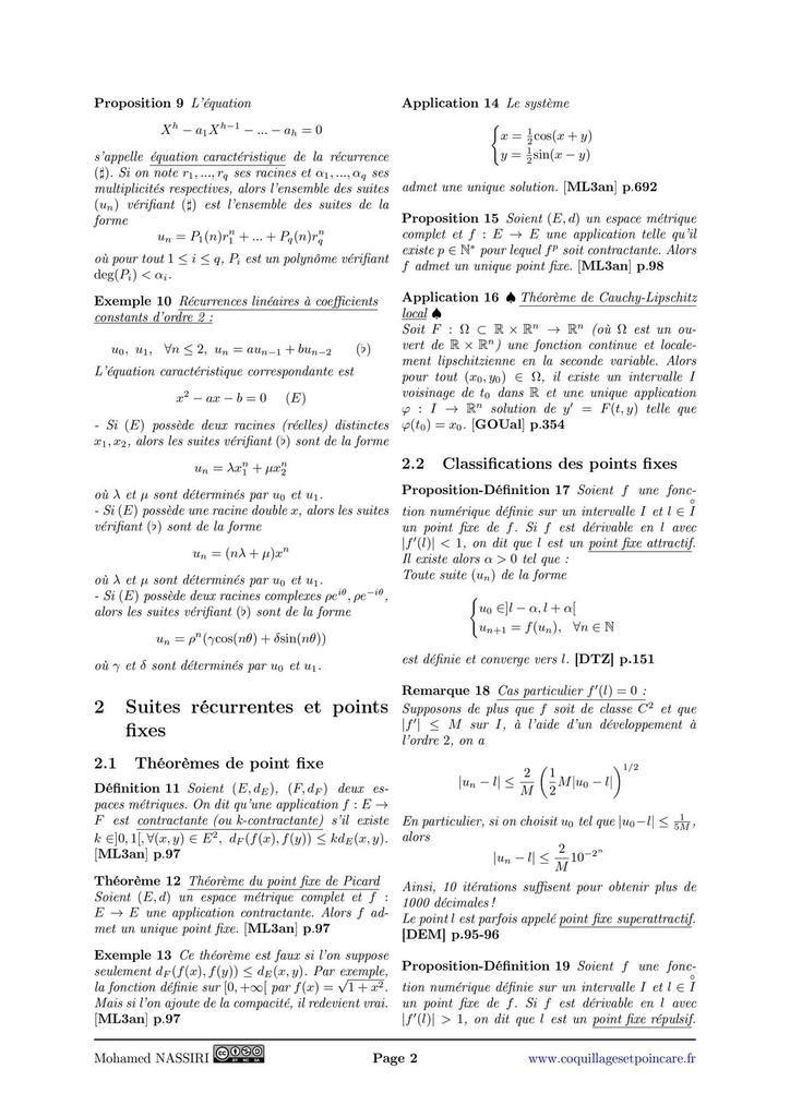 226 - Suites vectorielles et réelles définies par une relation de récurrence un+1=f(un). Exemples. Applications.a la résolution approchée d'équations.