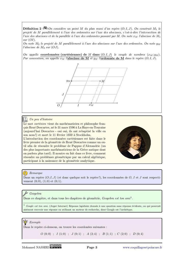 Repérage, coordonnées d'un point, milieu, distance : le cours complet avec démonstrations (12 pages)