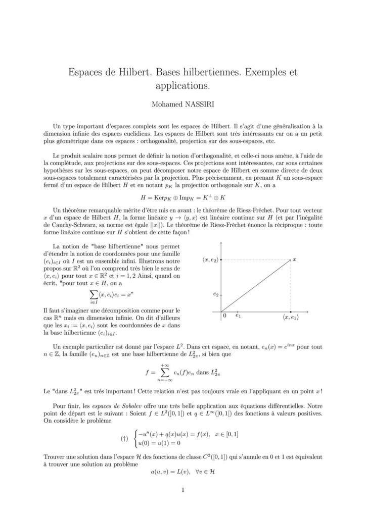 213 - Espaces de Hilbert. Bases hilbertiennes. Exemples et applications.