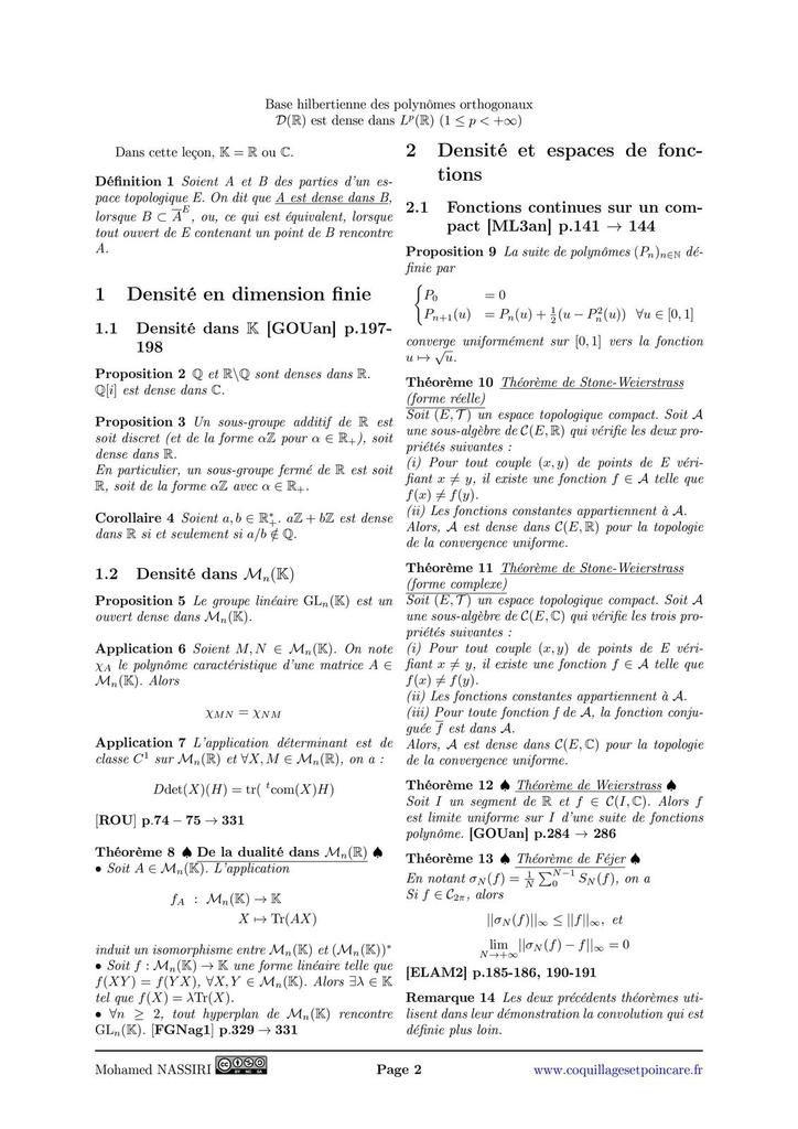 202 - Exemples de parties denses et applications.
