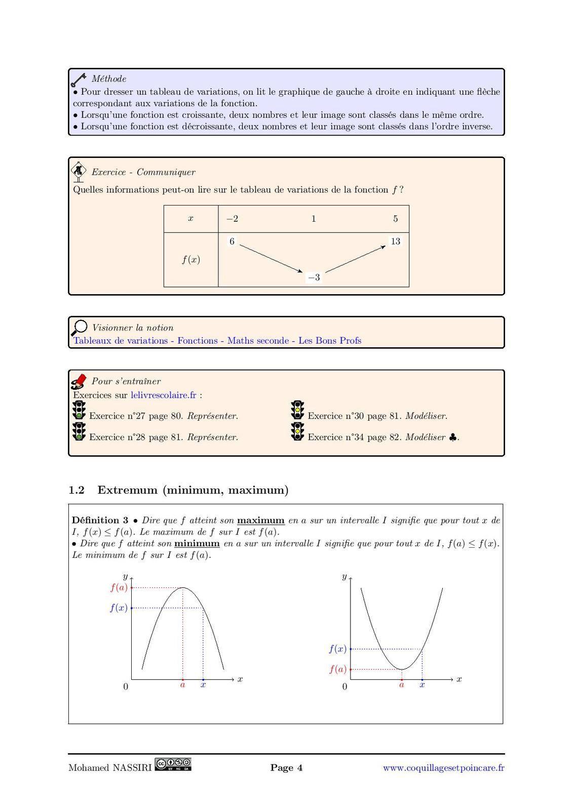 Variations de fonctions et extremum. Résolution d'inéquations graphiquement :  le cours complet avec démonstrations (10 pages)