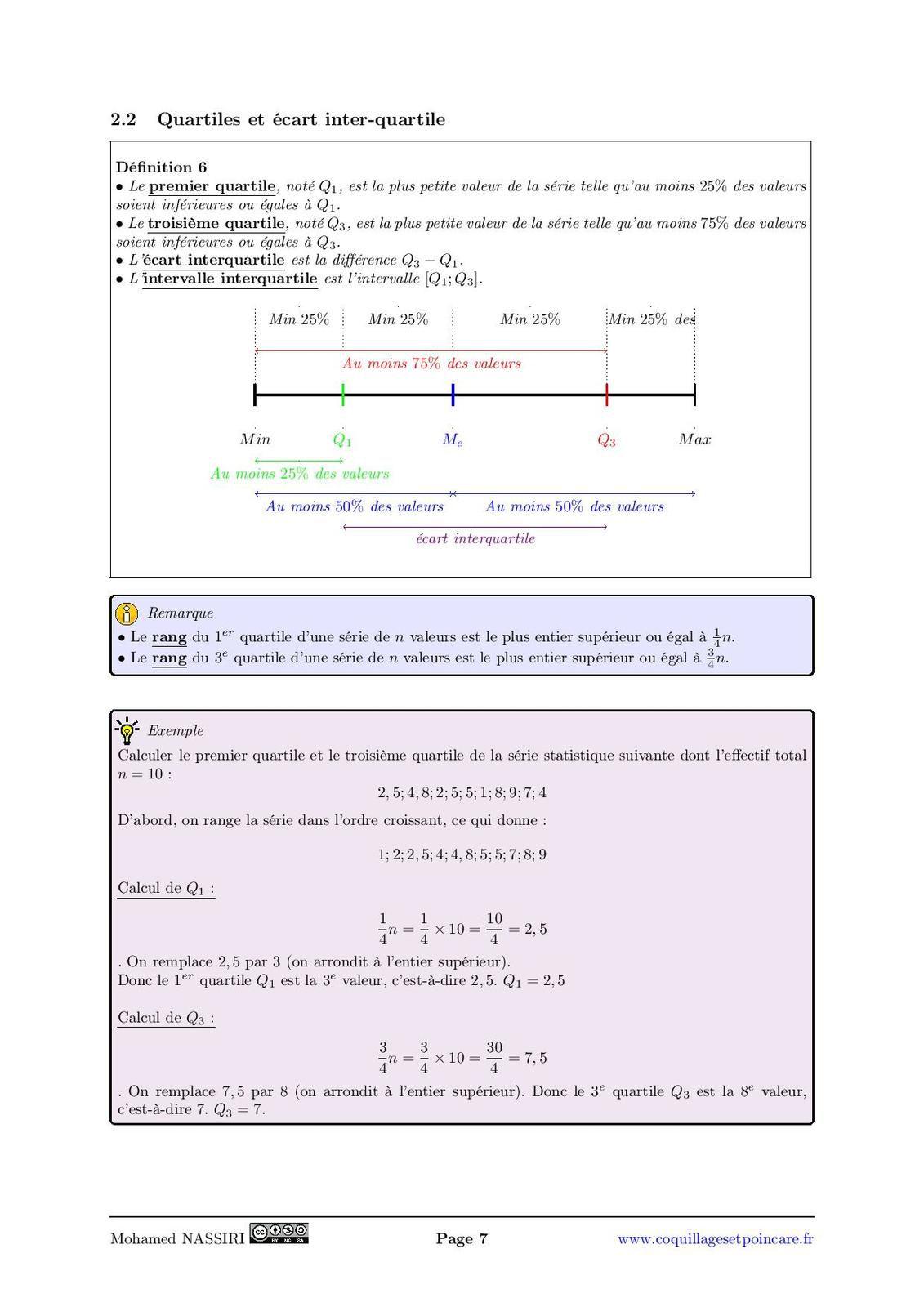 Médiane, quartiles, moyenne, écart-type : le cours complet avec démonstrations (15pages)