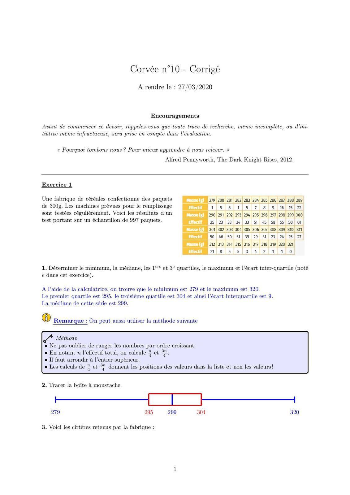 Corvée n°10 - Correction Corvée n°10