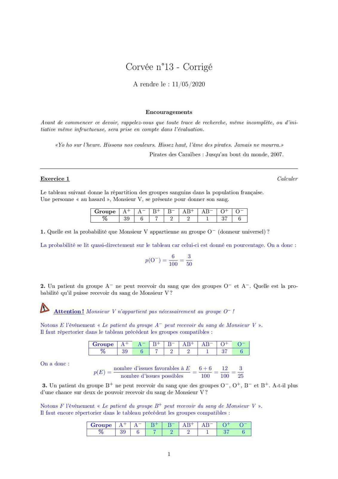 Corvée n°13- Correction Corvée n°13