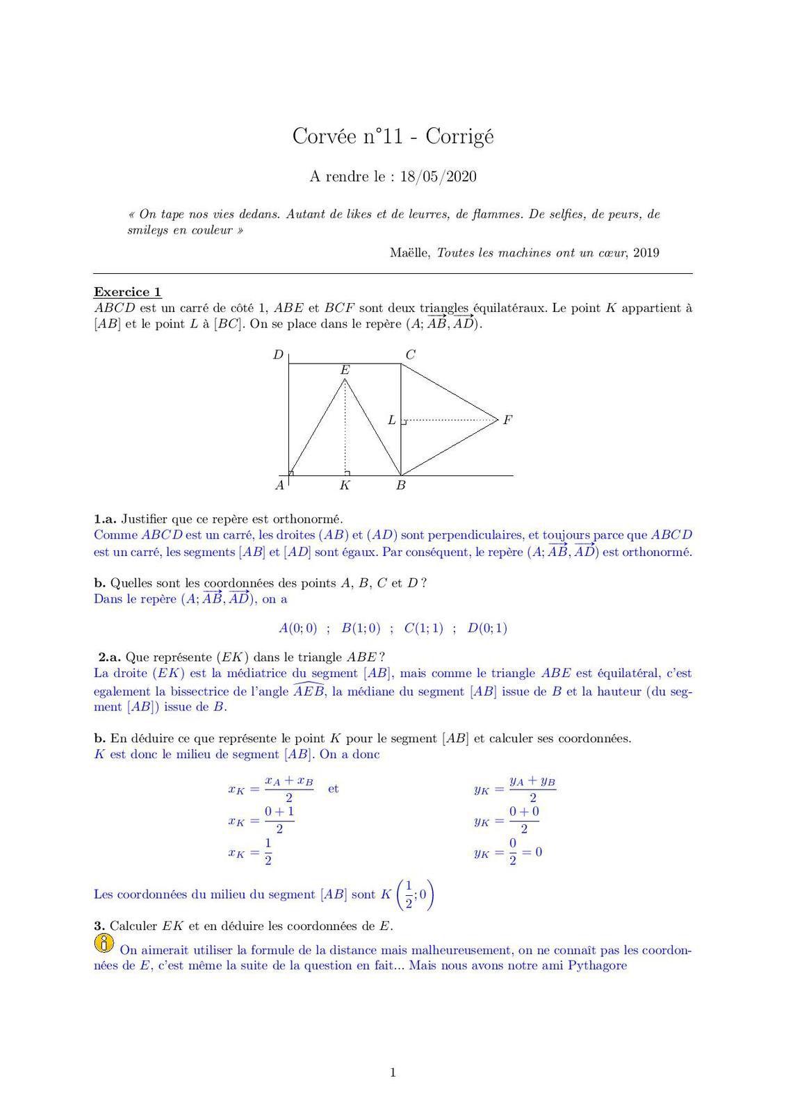 Corvée n°11- Correction Corvée n°11