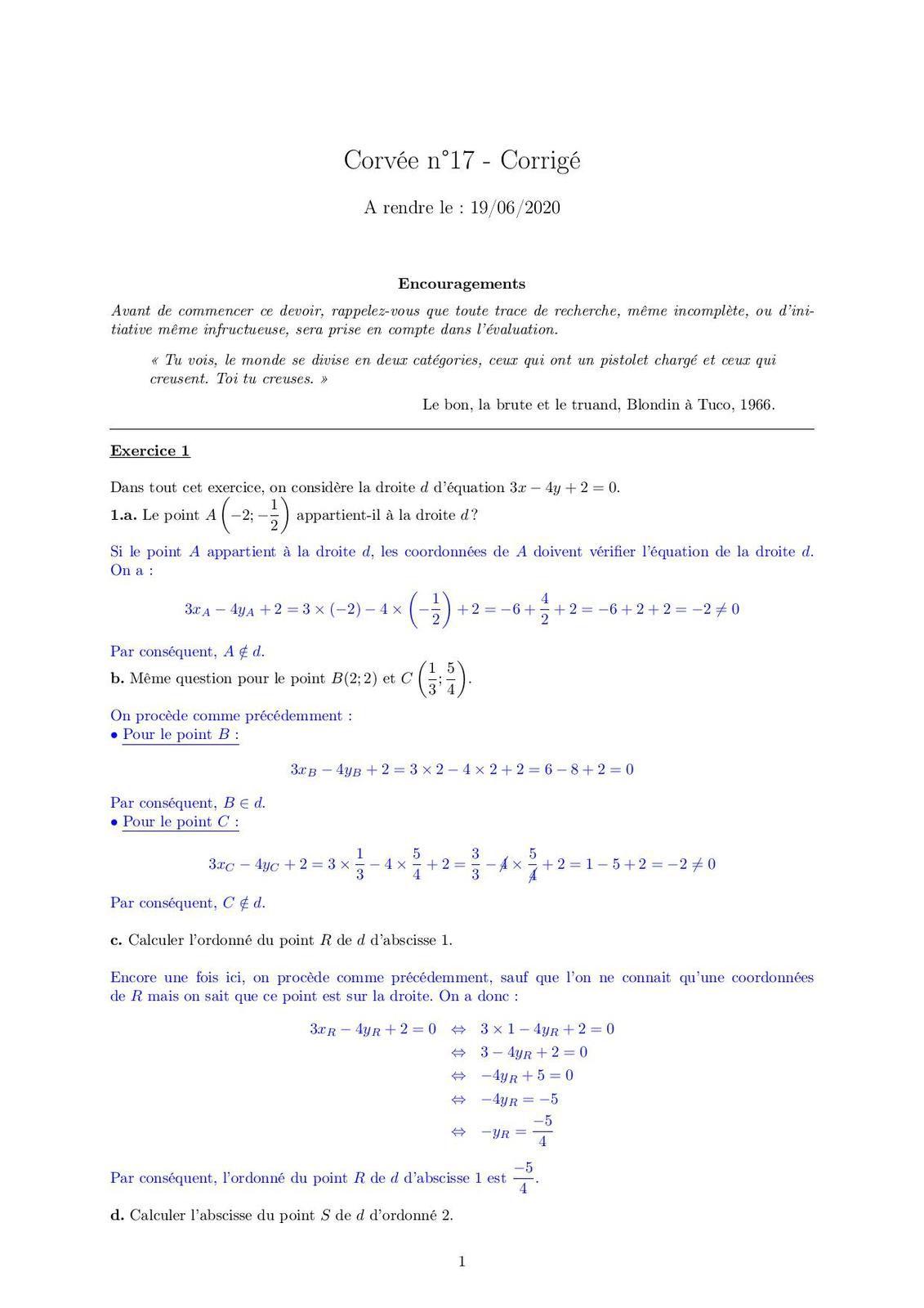 Corvée n°17 - Correction Corvée n°17
