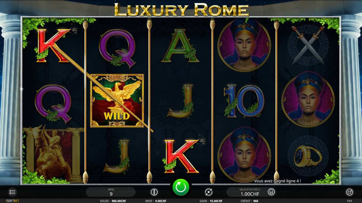 machine à sous Luxury Rome symbole wild sur Casino777.ch