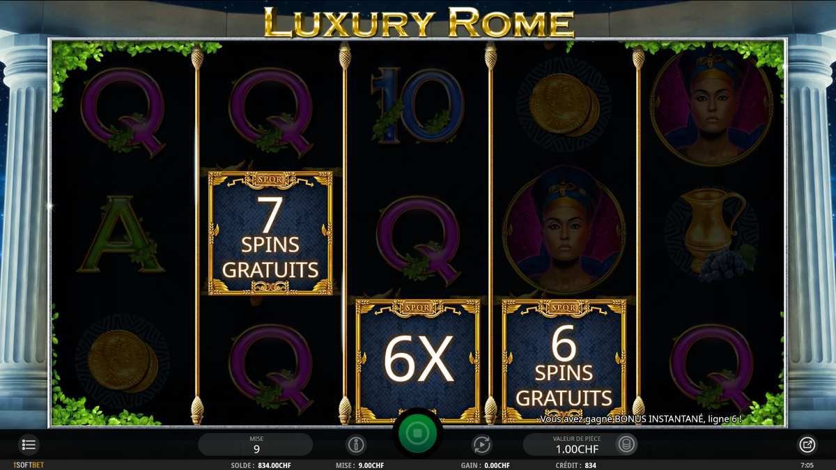 machine à sous Luxury Rome bonus tours gratuits sur Casino777.ch