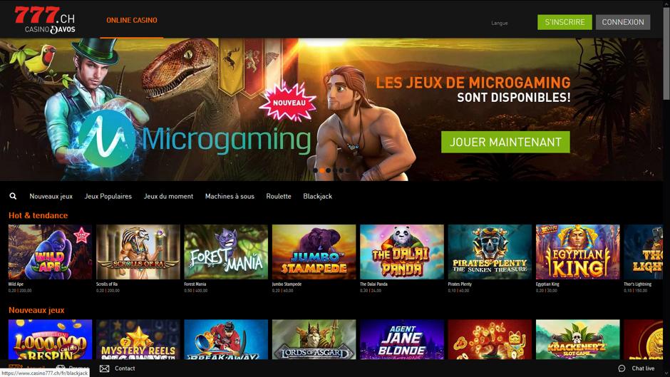 jeux de casino en ligne Microgaming sur Casino 777 en Suisse