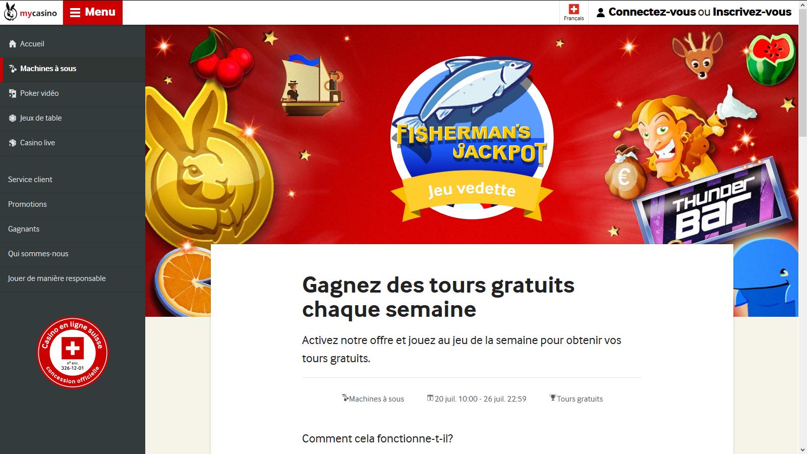 Gagner des tours gratuits sur MyCasino.ch - jeu de la semaine Fisherman's Jackpot