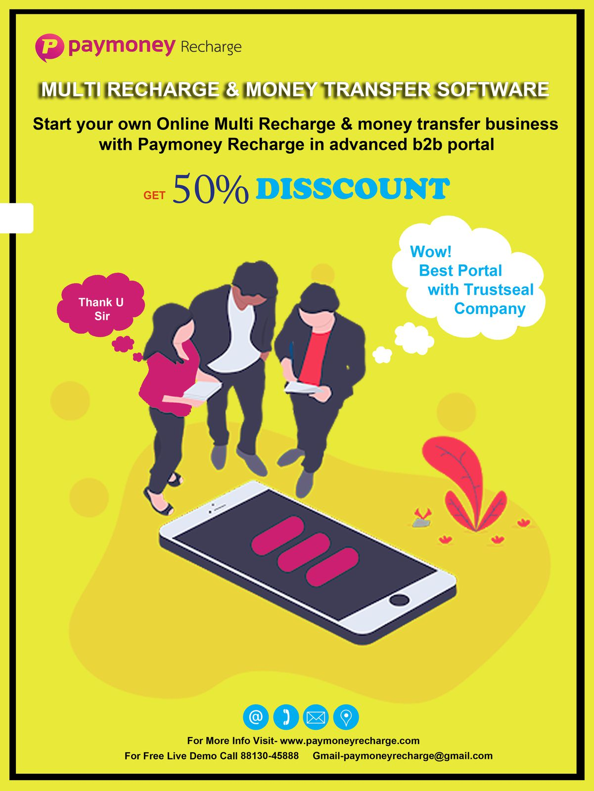 Paymoney Recharge Provide online B2B multi recharge portal with best features and 24*7 Hours Support With 1 Free Recharge API. And Android App Published in Play store With your Brand Name.