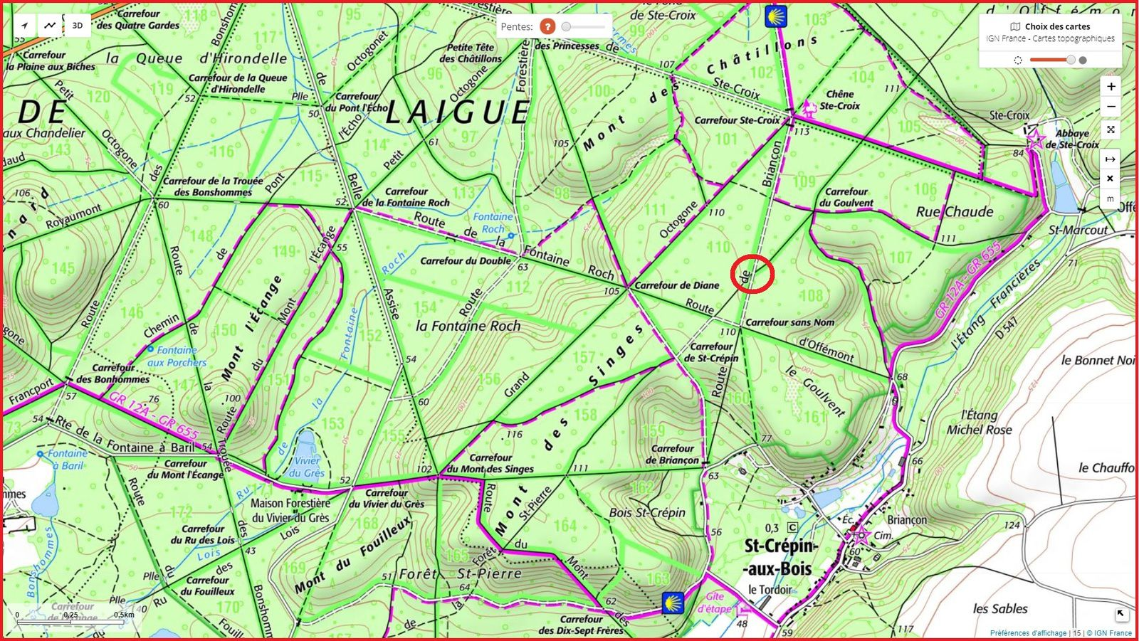 carrefour_Route de Briançon_Chemin de la Cavée des Beuriers