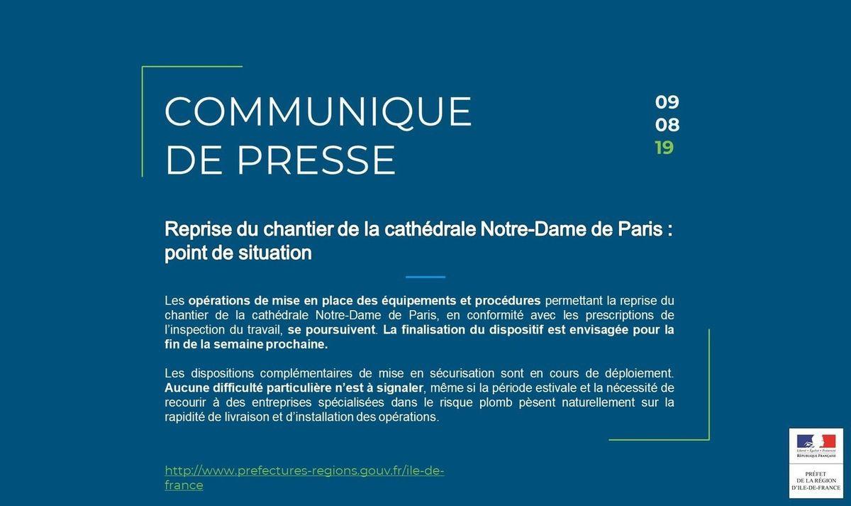 Le chantier de Notre-Dame de Paris reprendra le 19 août