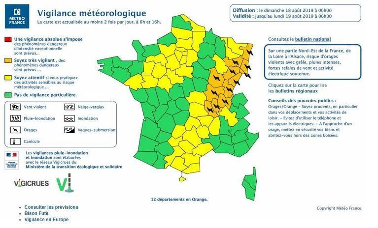 Orages : Météo France place 12 départements en vigilance orange