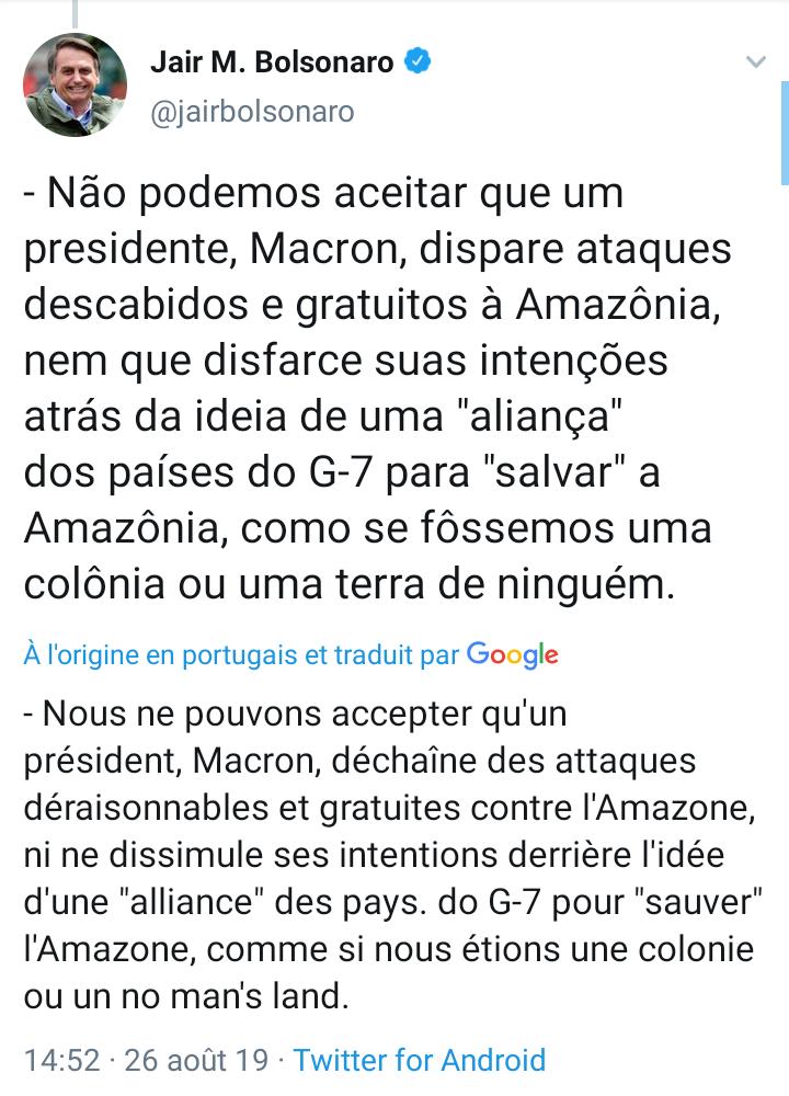 AMAZONIE: Jair Bolsonaro réagit a l'aide des pays du G7 en faveur de Amazonie