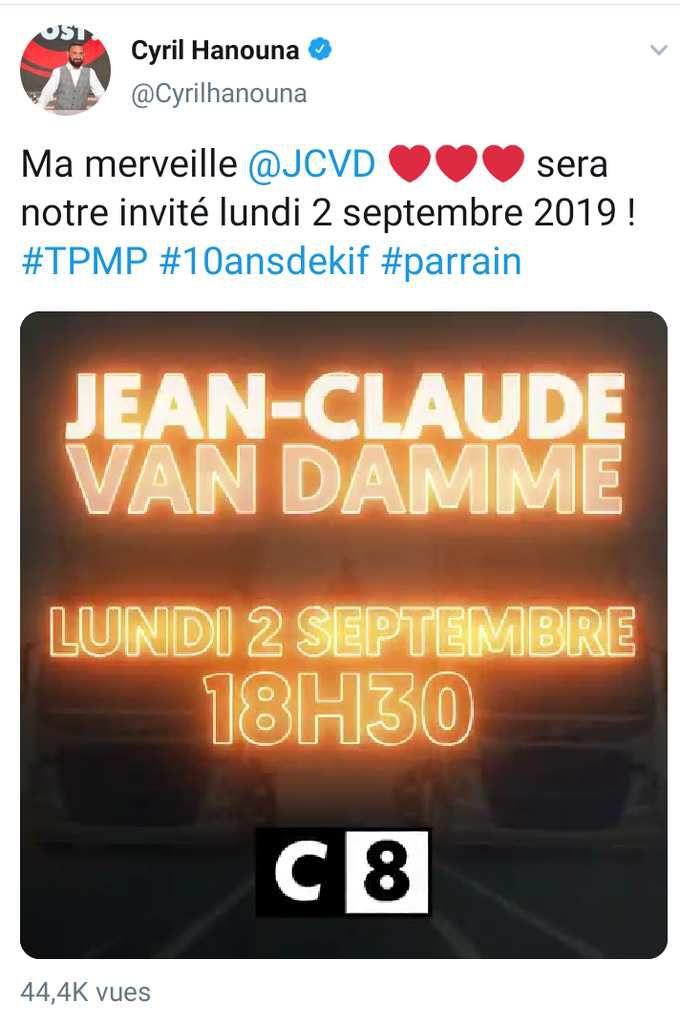 Jean-Claude Van Damme invité de TPMP lundi 2 septembre