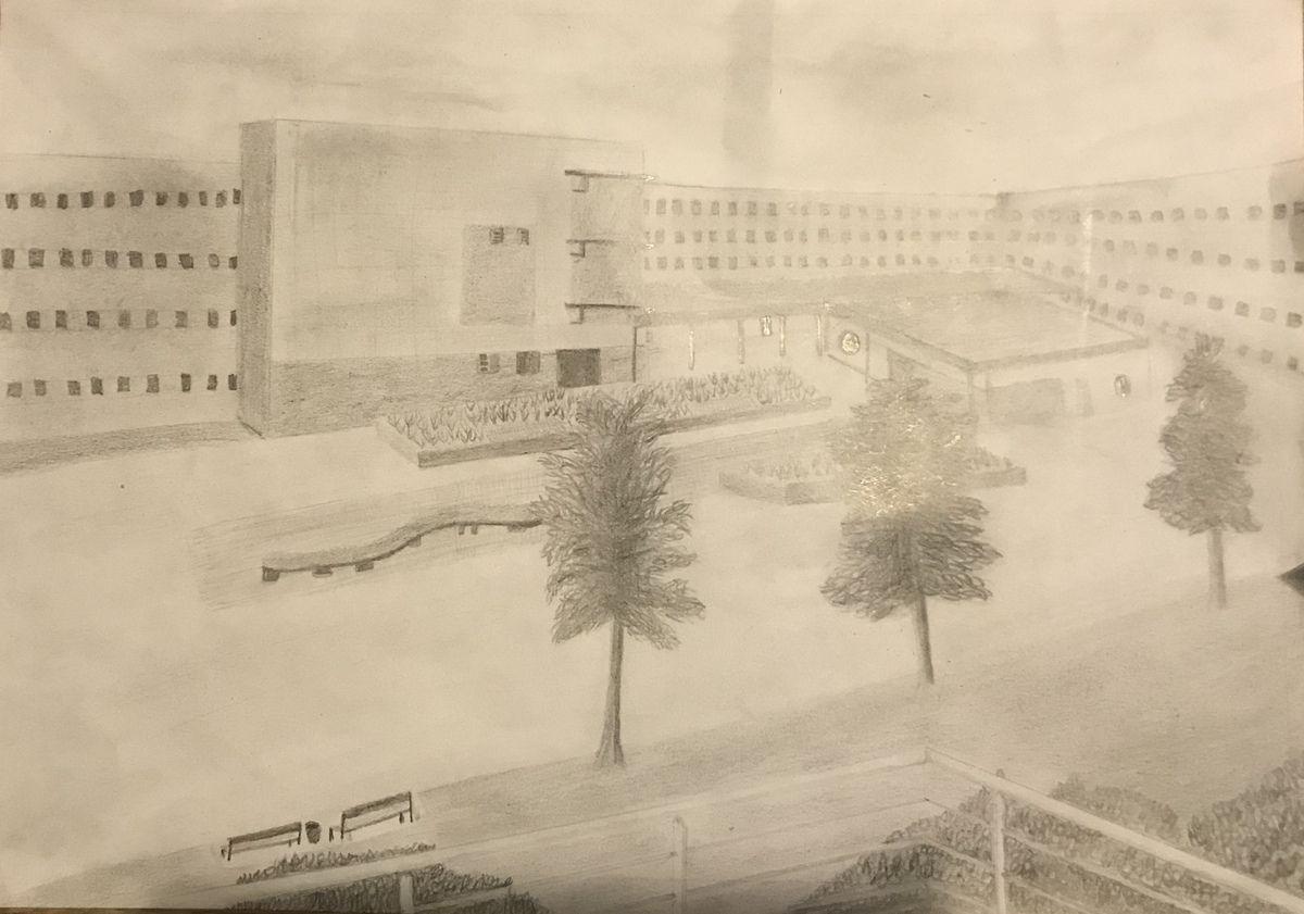Le lycée Jules Lesven (dessin des auteures)