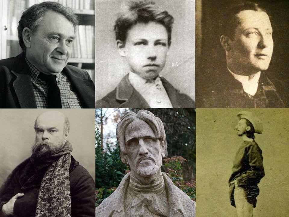 Haut : Jacques Réda - Arthur Rimbaud - Jules Laforgue / Bas : Paul Verlaine - Aloysius Bertrand - Tristan Corbière