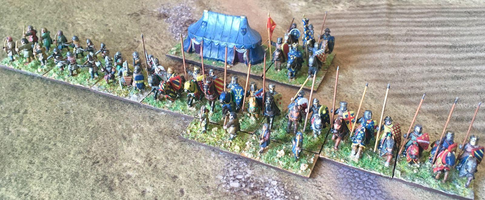 La bataille du Roi, avec la fine fleur de la chevalerie française devant lui, et les troupes à pied de support.
