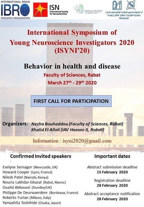 International Symposium of Young Neuroscience Investigators 2020 (ISYNI'20) 27-29 March in Rabat, Morocco.