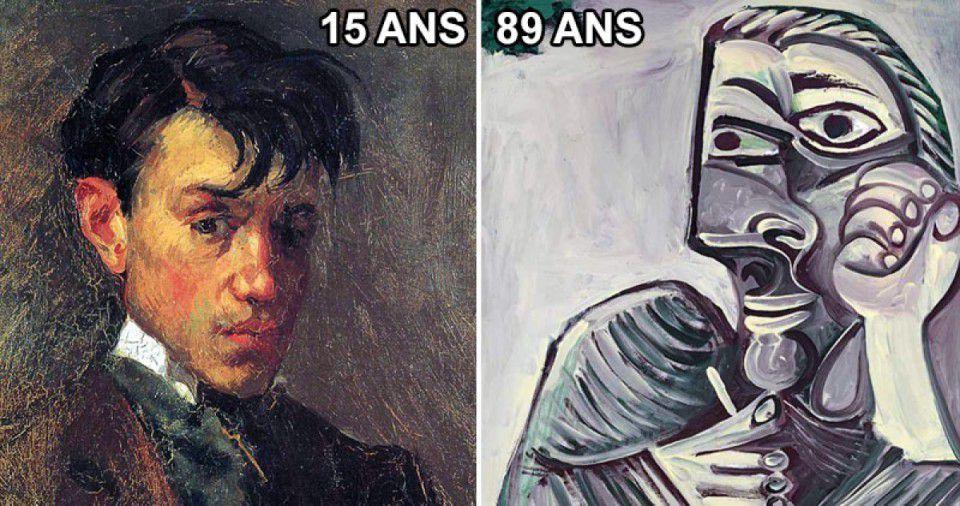 Autoportrait de Picasso à 15 ans et à 89 ans.