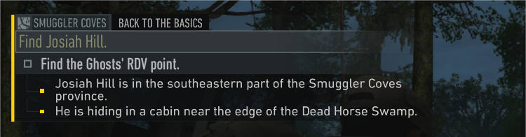 The mission reminder in-game.