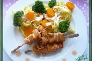 Brochettes de saumon.