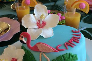 Flamant rose et hibiscus pour un gâteau d'anniversaire tropical !