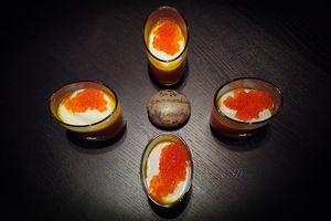 Verrine de potiron, yaourt grec et oeufs de truite