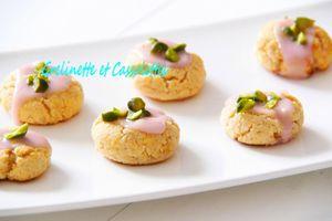 Mini Cookies au Citron à la farine de Coco, Topping rose de Ratafia de Myrtilles