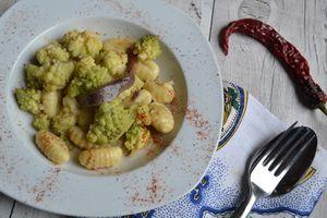 Gnocchi au chou romanesco et anchois