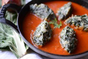 Quenelles de blettes et sauce tomates