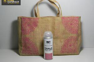 DIY Peinture à la craie sur sac en toile de jute