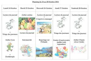 Planning semaine 43