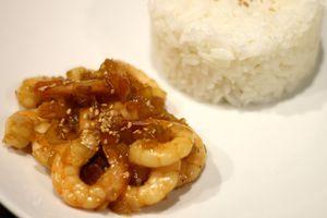 Crevettes caramélisées au sirop d'érable