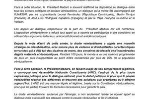 communiqué de solidarité avec la République Bolivarienne de Venezuela