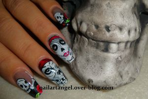 Nail art halloween, nail art tête de mort, nail art girly, nail art pas à pas.