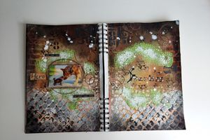 """Art Journal Page """" Hero"""" for More Than Words Challenge"""