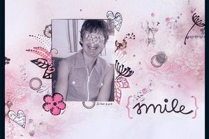 "Page "" Sourire "" challenge Page Antre Scrap Avril 2017"